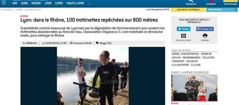 Une association repêche une centaine de trottinettes électriques dans le Rhône