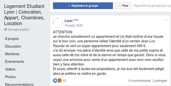 Sur Facebook, Liam prévient les autres étudiants de l'existence d'une arnaque.