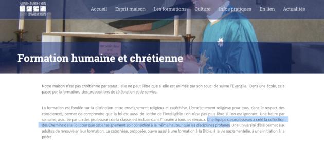 Le site internet de l'établissement mentionne la collection dont fait partie l'ouvrage problématique.