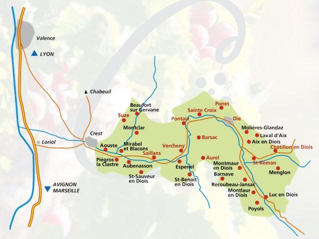 Carte de l'AOC Clairette de Die. Capture d'écran ODG.