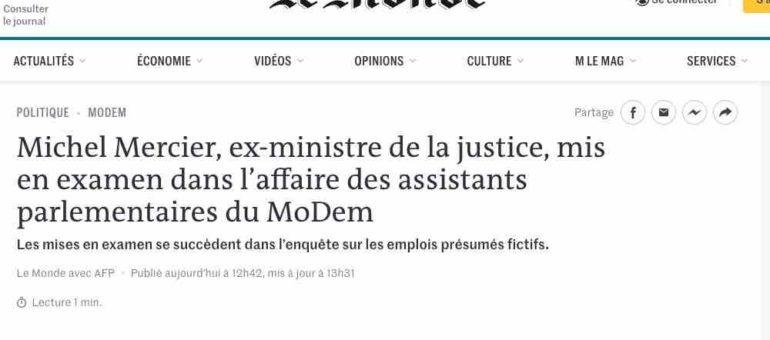 Michel Mercier mis en examen dans l'affaire des assistants parlementaires du Modem