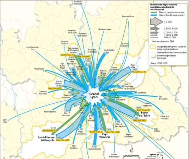 Les déplacements domicile/travail à Lyon en 2012. Source : Observatoire des déplacements de l'agglomération lyonnaise