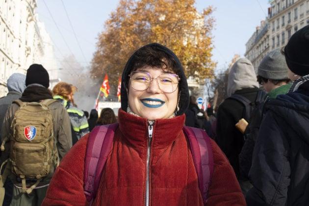 Justine étudiante manifestante