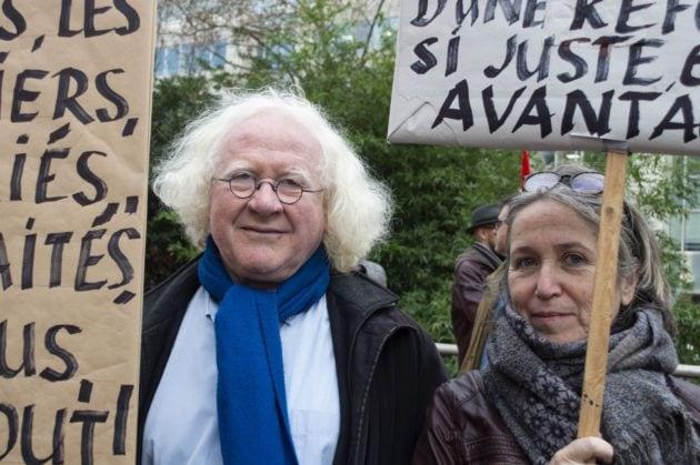 Jacques, peintre, mobilisé contre la réforme des retraites à Lyon. ©ED/Rue89Lyon