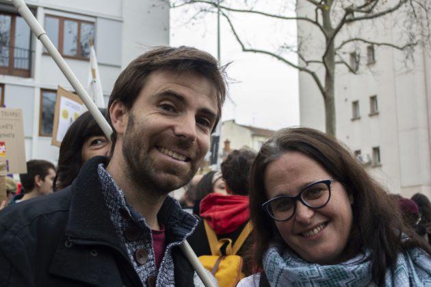 Fabrice et Annick, chercheurs exceptionnellement mobilisés contre la réforme des retraites. ©ED/Rue89Lyon