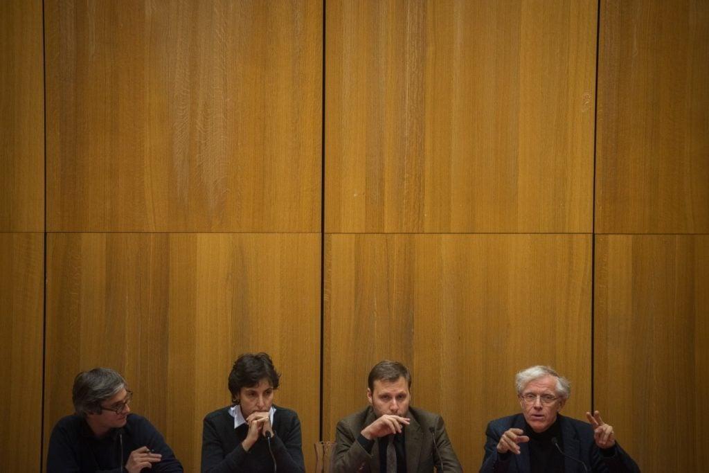 De gauche à droite : l'animateur Raphaël Bourgois, Agathe Cagé, Alexandre Devecchio et Pascal Ory - ©Bertrand Gaudillère / Item