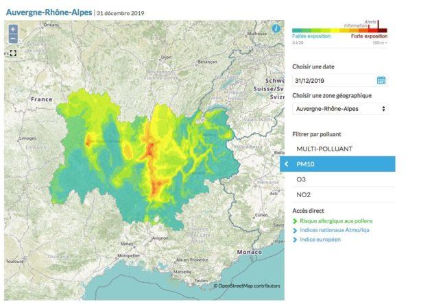 Carte d'Atmo Rhône-Alpes