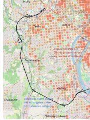 Tracé de l'anneau des sciences et densités de population dans l'ouest Lyonnais : aucun échangeur n'est bien situé pour une offre de transports en commun