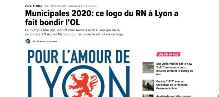 À Lyon, l'affiche de campagne du Rassemblement National ne plaît pas à l'OL