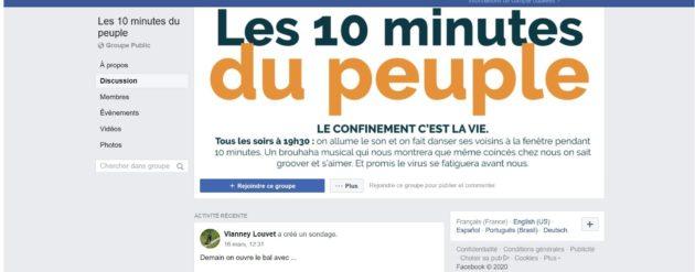 Capture d'écran du groupe Facebook Les 10 minutes du peuple pour lutter contre l'isolation lié au confinement