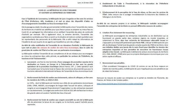 Mesures économiques de soutien de la part de la métropole de Lyon