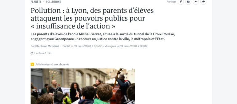 Face à la pollution de l'air, des parents d'élèves à Lyon déposent un recours devant la justice