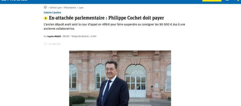 Philippe Cochet, condamné à payer son ancienne assistante parlementaire