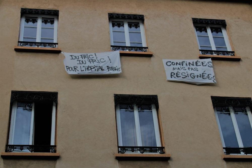 """Banderole """"Du fric pour l'hôpital public"""". Rue Jean Jaurès. © AM"""