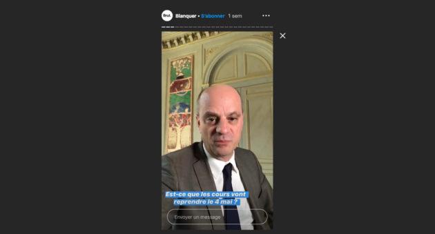Jean-Michel Blanquer dans une story sur le compte Instagram de Brut