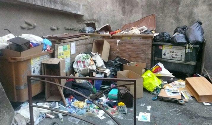 Photo de poubelles éventrées prise par Stanislas Waligorski.