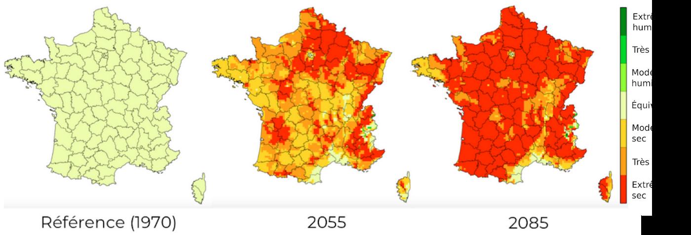 Figure 3: Projections régionalisées de l'indice d'humidité relative des sols, en moyenne printanière, par rapport à 1970. Le scénario considéré correspond à une trajectoire d'émissions de gaz à effet de serre intermédiaire, provoquant un réchauffement d'environ 3°C d'ici 2100 (équivalent au scénario RCP 6.0 du GIEC). Source:Drias-climat.