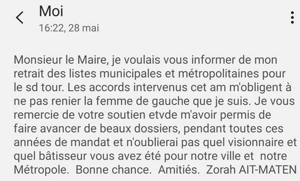 Zohra Aït-Maten écrit par sms à Gérard Collomb. ©Rue89Lyon