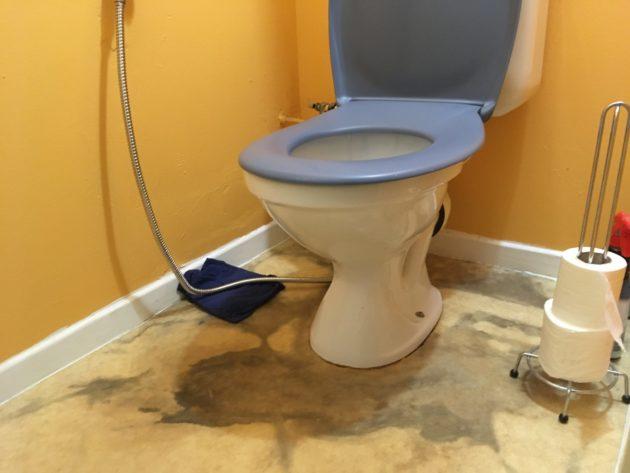 Toilettes dont le sol est taché par des traces noires d'humidité
