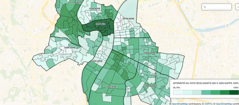 Cartes des résultats à Lyon: les écologistes, leur électorat et leurs bastions