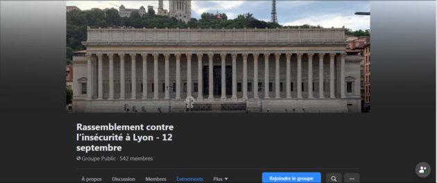 Capture groupe Facebook rassemblement contre l'insécurité à Lyon