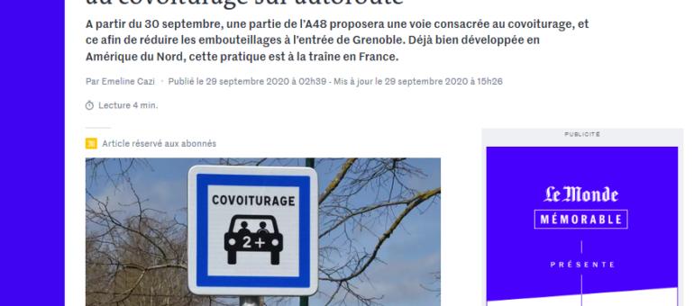 A Grenoble, une voie réservée au covoiturage sur l'autoroute A48