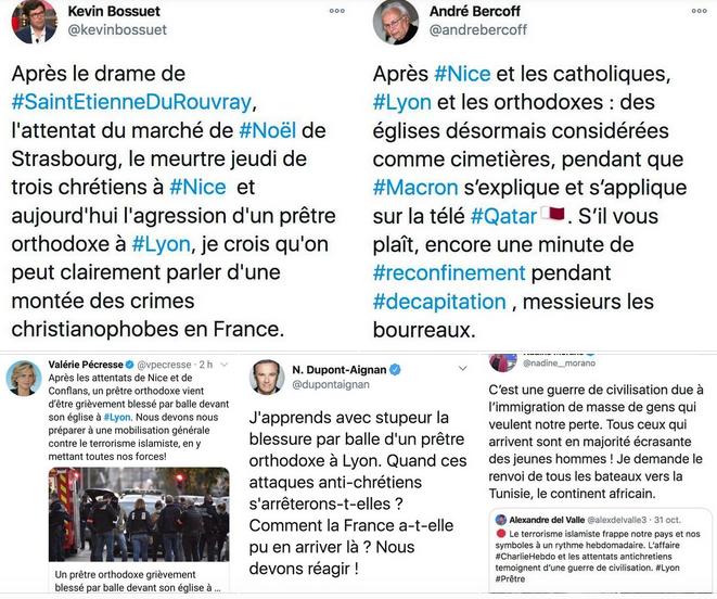 Réactions en chaîne sur les réseaux sociaux, après qu'un prêtre a été blessé par balle à Lyon. Capture d'écran réseaux sociaux par Rue89Lyon. DR