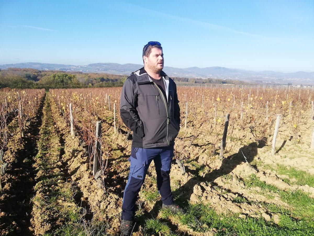 Raphaël Saint-Cyr, dans ses vignes d'Anse dans le Beaujolais en novembre 2020. ©FD/Rue89Lyon