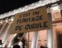 """Rassemblement contre la loi """"Sécurité globale"""" le 24 novembre devant le palais de Justice du Vieux Lyon. ©LB/Rue89Lyon"""
