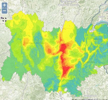 Prévision de pollution pour la journée du 23 novembre. Capture d'écran Atmo Auvergne-Rhône-Alpes