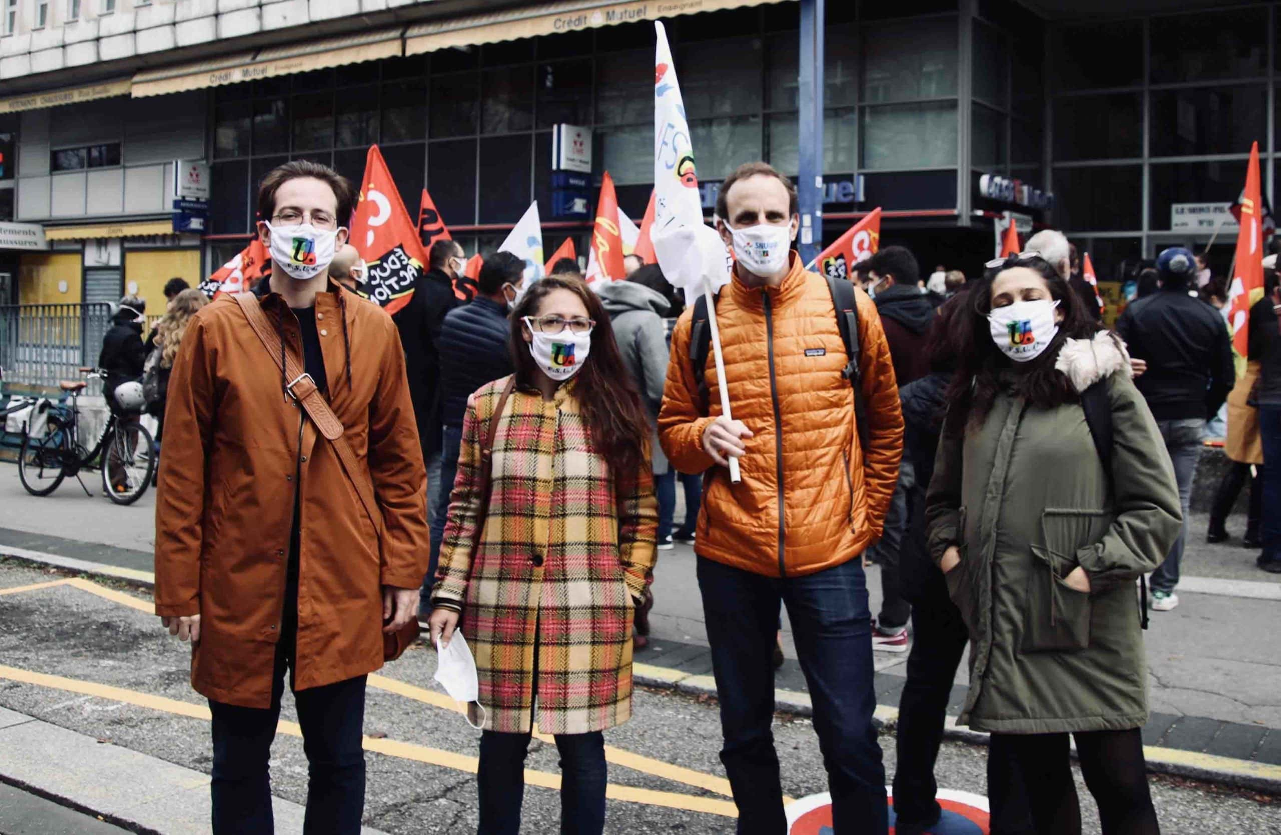 Manifestation d'enseignants à Saint-Etienne pendant le confinement automne 2020