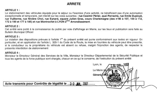 En 2020, deux arrêtés municipaux interdisent le stationnement des camionnettes de prostituées à Gerland et à Confluence. Celui concernant le quartier Confluence date de 2007
