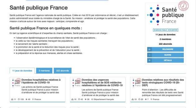 Santé Publique France sur le portail data.gouv.fr