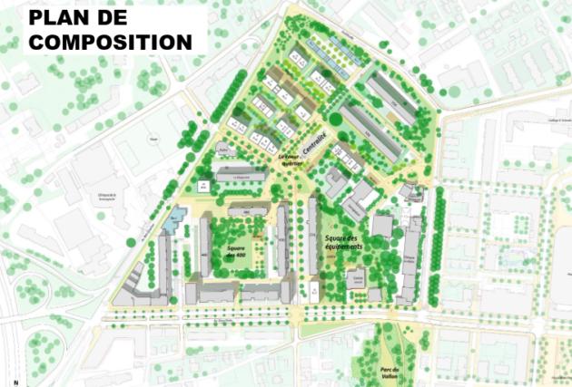 Capture d'écran du plan de végétalisation du quartier, disponible sur https://www.gpvlyonduchere.org/