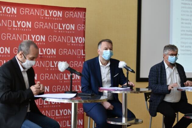 Bruno Bernard, Jean-Charles Kohlhaas et Pierre Athanaze à la conférence de presse sur la ZFE du 12/03/2021 ©LS/Rue89Lyon