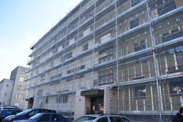 Le premier bâtiment en travaux, à la Sauvegarde. ©LS/Rue89Lyon