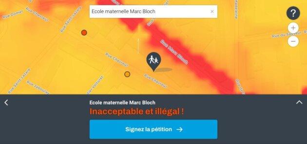 Carte pollution air école Marc Bloch Lyon 7e