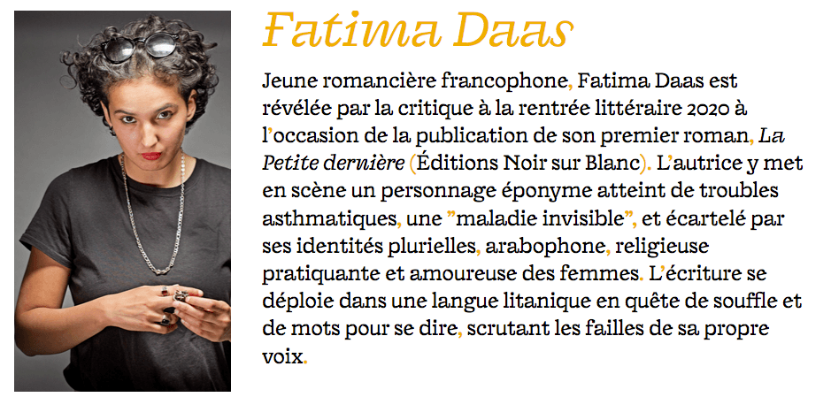 Fatima Daas à la Villa Gillet en mai 2021.