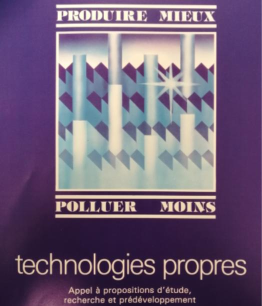 Une affiche des années 1970 prônant une industrie moins polluante et qui produit moins de déchets.