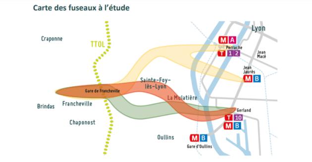 Carte des fuseaux de téléphérique à l'étude par le Sytral.