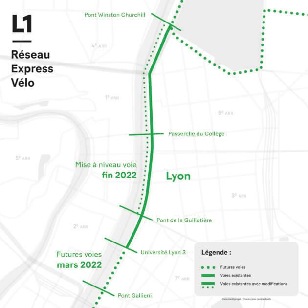 Ligne L1 Réseaux Express Vélo Lyon