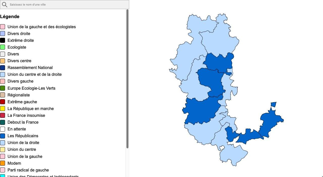 Carte résultats départementales 2021 Rhône