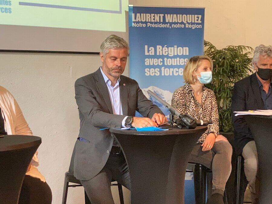 Laurent Wauquiez à l'Embarcadère, le 7 juin 2021, présentation de son programme. ©DD/Rue89Lyon