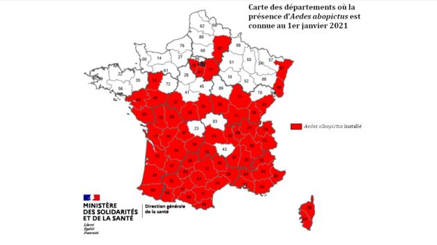 Carte envoyée par l'ARS d'Auvergne Rhône Alpes à propos de la colonisation du moustique tigre en France.
