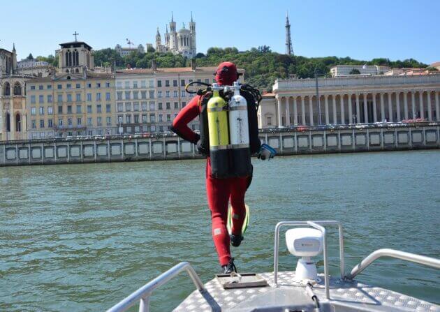 pompier sauveteur plongée Saône noyade