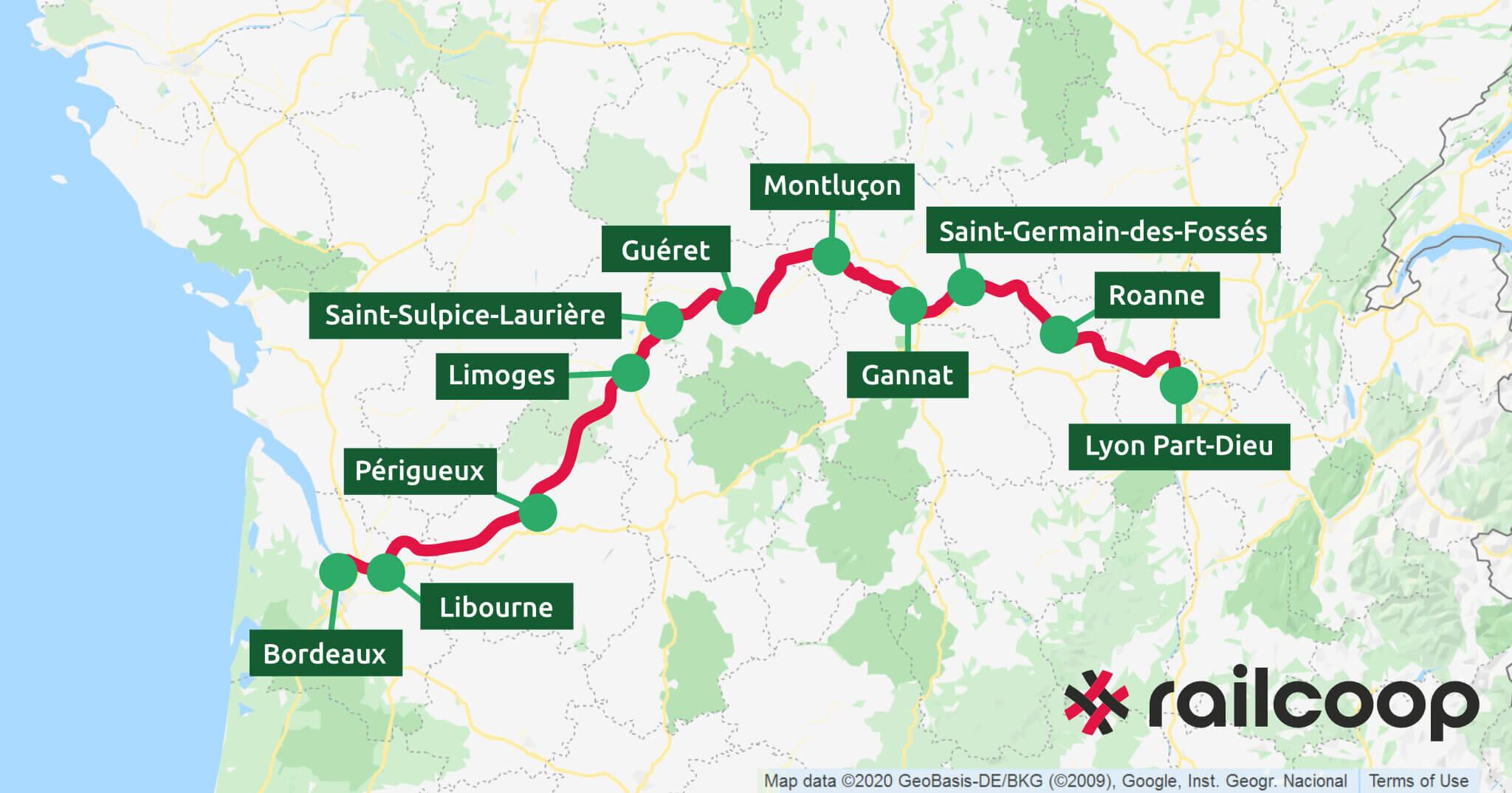 Carte Railcoop Lyon Bordeaux